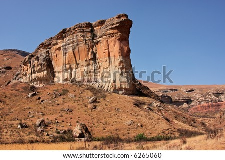 View of the famous Brandwag sandstone rock during the dry winter period, Golden Gate National Park, South Africa