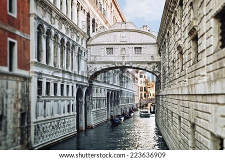 View of the famous Bridge of Sighs in Venice  - stock photo