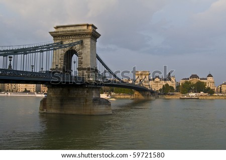 view of the famous chain bridge in Budapest - stock photo