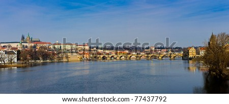 View of the Famous Charles Bridge over the Vtlava River in the Czech Republic - stock photo