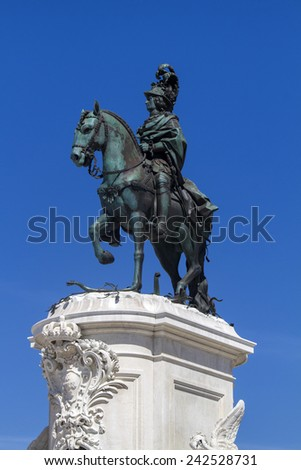 View of the famous equestrian statue of D.Jose I, located on the Commerce Plaza, Lisbon, Portugal. - stock photo