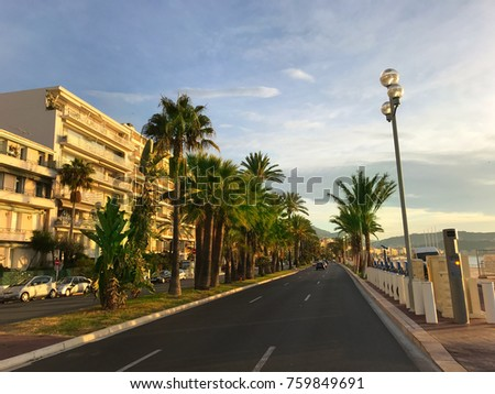 View of the famous Promenade des Anglais, with palm trees seven kilometers along the coast a place of rest walking and sport by the sea in of the Cote d'Azur, South France