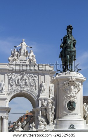 View of the famous Triumphal Augusta Arch located in Lisbon, Portugal. - stock photo