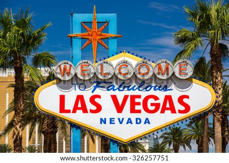 View of the famous Welcome sign in Las Vegas, Nevada. - stock photo