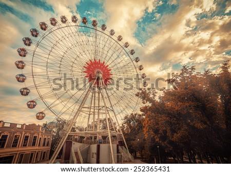 view of the ferris wheel in Krasnodar - stock photo
