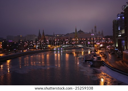 view of the foggy Moscow Kremlin in the winter dusk - stock photo