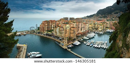 View of the Fontvielle harbour and marina of Monte Carlo, Monaco - stock photo