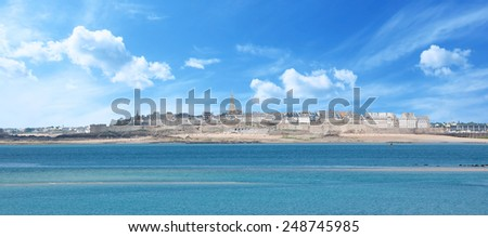 View of the fortificated town Saint-Malo in Britanny - France - stock photo