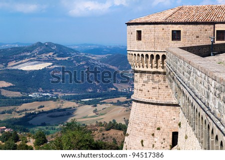 View of the Fortress of San Leo and town of the Marche regions. There is the death-place of Count Cagliostro.