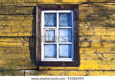 View of the frozen window - stock photo