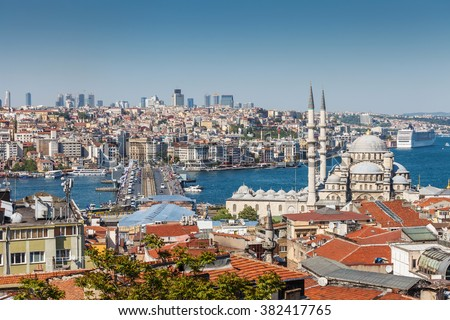 View of the Galata bridge and mosque in Istanbul, Turkey