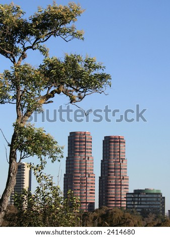 View of the Gandhi towers, Mexico DF - stock photo