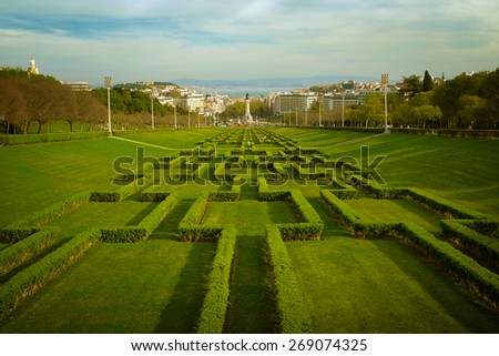 View of the gardens of Edward VII Park in Lisbon Portugal - stock photo