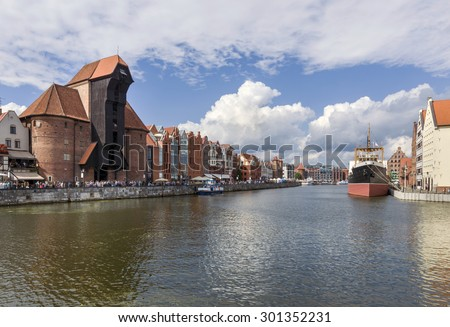 View of the Gdansk riverside on Old Town by the Motlawa river - stock photo