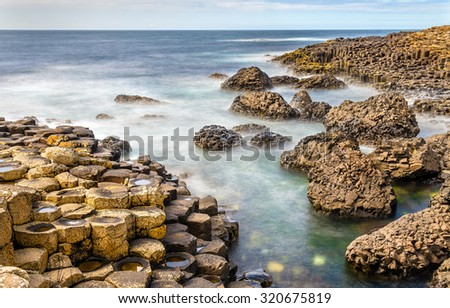 View of the Giant's Causeway, a UNESCO heritage site in Northern Ireland - stock photo