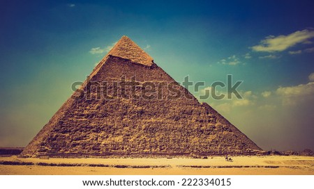 View of the Giza Pyramids. Egypt. Cairo. Filtered image:cross processed effect.  - stock photo