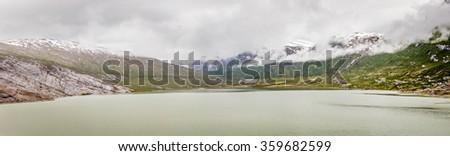 View of the glacier lake at Svartisen glacier, Norway - stock photo