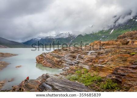 View of the glacier lake at Svartisen, Norway - stock photo