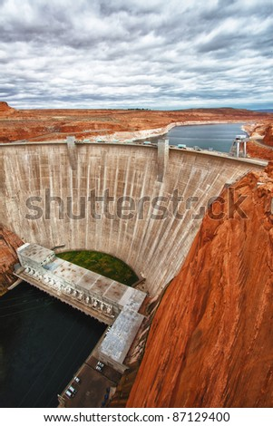view of the Glen Dam in Page, Arizona, USA - stock photo