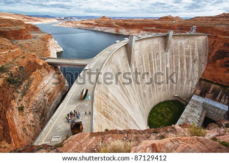 view of the Glen Dam in Page, Arizona, USA - stock photo
