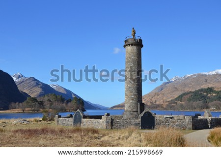 view of the Glenfinnan Monument in Scotland - stock photo