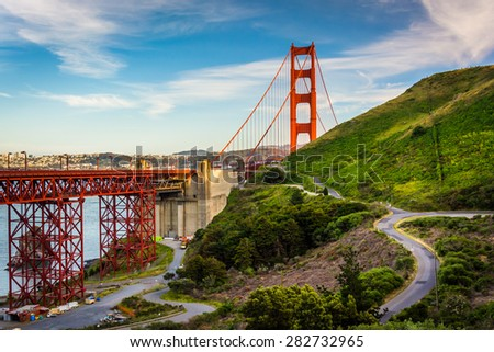 View of the Golden Gate Bridge, in Golden Gate National Recreation Area, in San Francisco, California.