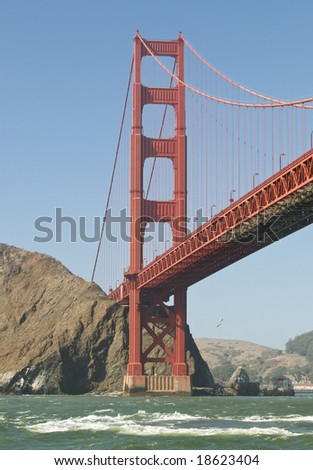 View of the Golden Gate Bridge in the Bay of San Francisco, California