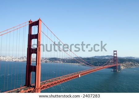 View of the Golden Gate Bridge, San Diego, San Francisco Bay - stock photo
