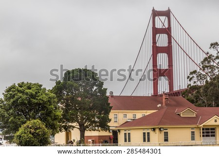 View of the Golden Gate from the Fort Baker area in Sausalito, north of the Golden Gate and San Francsico, CA - stock photo