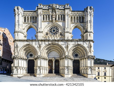 View of the Gothic cathedral in Cuenca, Spain - stock photo