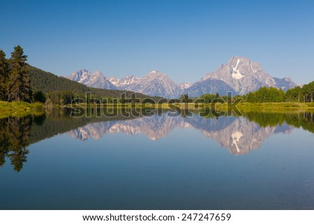 View of the Grand Teton Mountains from Oxbow Bend on the Snake River. Grand Teton National Park, Wyoming, USA - stock photo