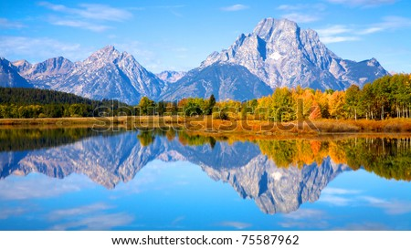 View of the Grand Teton Mountains from Oxbow Bend on the Snake River. Grand Teton National Park, Wyoming, United States. - stock photo