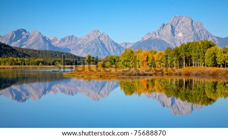 View of the Grand Teton Mountains from Oxbow Bend on the Snake River. Grand Teton National Park, Wyoming, United States.