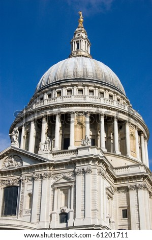 View of the great dome of St Paul's Cathedral in the City of London.