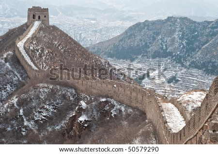 View of the Great Wall of China in the winter - stock photo