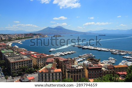 view of the Gulf in Naples with the Egg Castle and Mount Vesuvius - stock photo