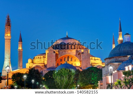 View of the Hagia Sophia at night in Istanbul, Turkey. Hagia Sophia is the greatest monument of Byzantine Culture. - stock photo