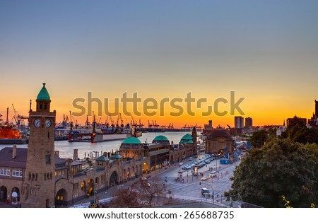 View of the Hamburg harbour at sunset, Germany - stock photo