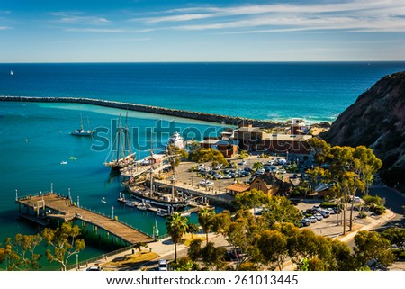 View of the harbor from Ken Sampson Overlook Park in Dana Point, California. - stock photo