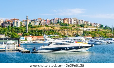 View of the harbor of the old town of Sozopol with yachts in the foreground, Black sea coast, Bulgaria. - stock photo