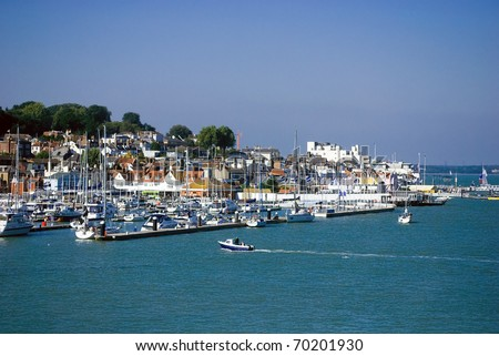 View of the Harbour at Cowes, Isle of wight - stock photo