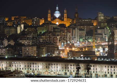 View of the harbour of Genoa illuminated by night