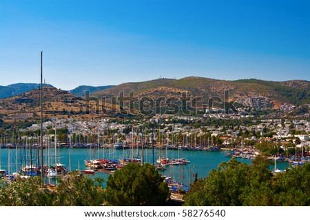 view of the harbour with yachts, in Bodrum, Turkey - stock photo