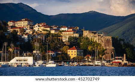 View of the Herceg Novi from the sea, Montenegro