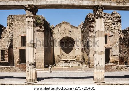 view of the Herculaneum excavation, Naples, Italy - stock photo
