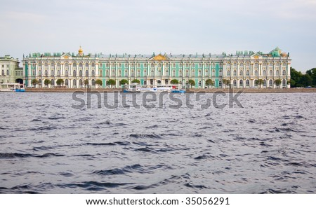 View of the Hermitage across the Neva. Saint-Petersburg, Russia