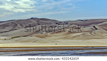View of the high dunes in the Great Sand Dunes National Park and Preserve near Alamosa, Colorado - stock photo