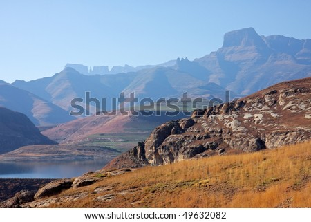 View of the high peaks of the Drakensberg mountains, South Africa - stock photo