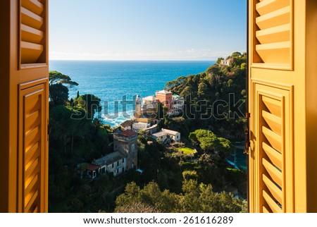 View of the hills around Portofino through a window - stock photo