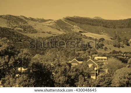 View of the hills of Akaroa, New Zealand - vintage sepia look